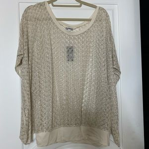 Beautiful shimmering pale silver lace shirt!!